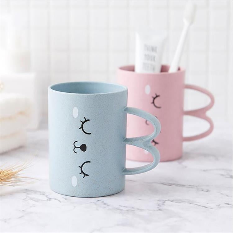 320ml Baby Brush Teeth Washing Cup Children Milk Cup Breakfast Mug Drink Cups Gargle Cup with Handle(Pink) |