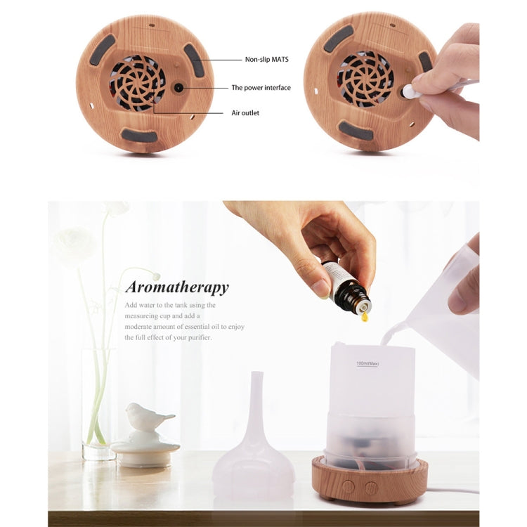 STB-XB10 3D Fireworks 7 Colors LED Night Light Air Humidifier Aroma Essential Oil Diffuser Mist Maker, Plug Type:US Plug(Dark Wood Grain) - Star Produkte