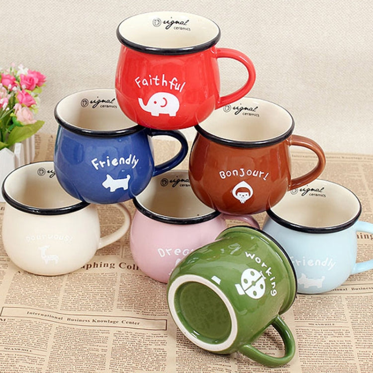 5 PCS Cartoon Pattern Retro Ceramic Cup Enamel Milk Cups Mugs Coffee Cup Lovely Gifts, Capacity:150ml(Blue) |