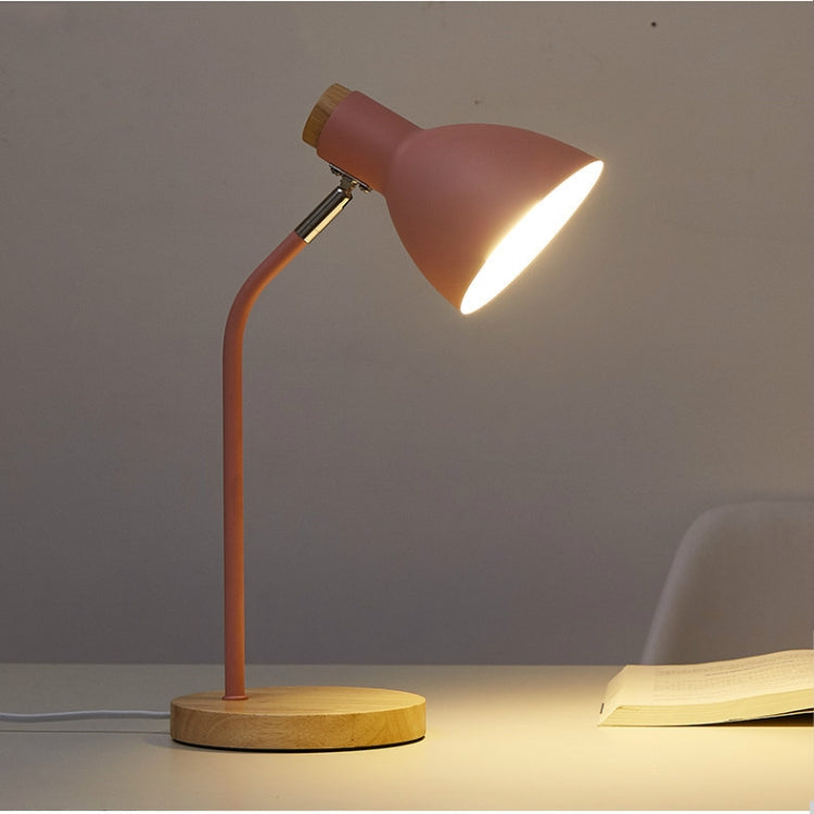 E27 Button Switch Wood Table Lamp Metal Shade Desk Light Bedside Reading Book Light Home Decor, Light Source:Normal Bulb(Pink) |