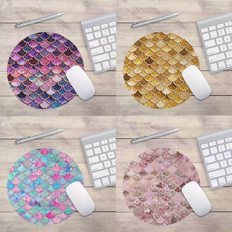Watercolor Shiny Mermaid Scale Small Round Office Non-slip Mouse Pad, Size:22 × 22cm without Lock(Figure 1) - Star Produkte