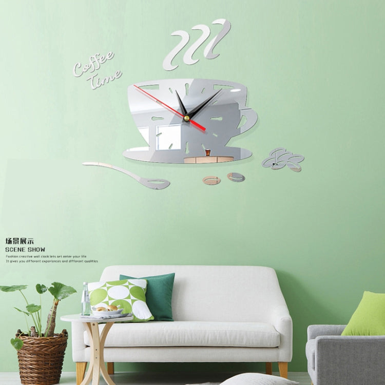 2 Sets Home DIY 3D Stereo Decorative Fashion Coffee Wall Clock Acrylic Mirror Wall Sticker Coffee Clock(Silver) - star-produkte.myshopify.com