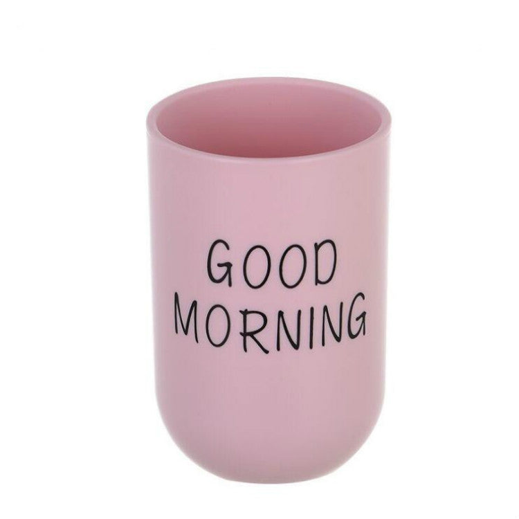 Simple Cute Brushing Cup Couple Plastic Mouthwash Cup, Pattern:Word(Pink) - Star Produkte