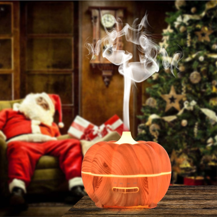 300ml Pumpkin Ultrasonic Air Humidifier Aroma Essential Oil  Diffuser with 7 Color Changing  Lights, Plug Type: EU Plug(Light Wood Grain) |
