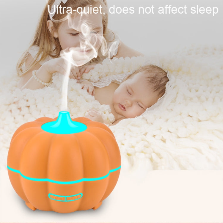 300ml Pumpkin Ultrasonic Air Humidifier Aroma Essential Oil  Diffuser with 7 Color Changing  Lights, Plug Type: US Plug(Light Wood Grain) |