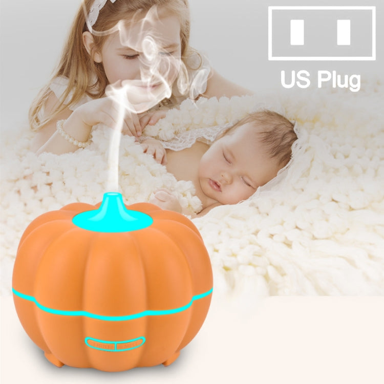 300ml Pumpkin Ultrasonic Air Humidifier Aroma Essential Oil  Diffuser with 7 Color Changing  Lights, Plug Type: US Plug(Orange) |