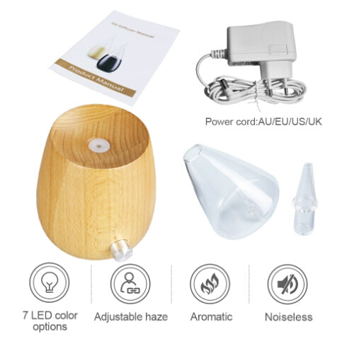 Waterless Diffuser Essential Oil Spray Wood Glass Aromatherapy Air Humidifier, Plug Type:AU Plug(Light Wood Grain) |