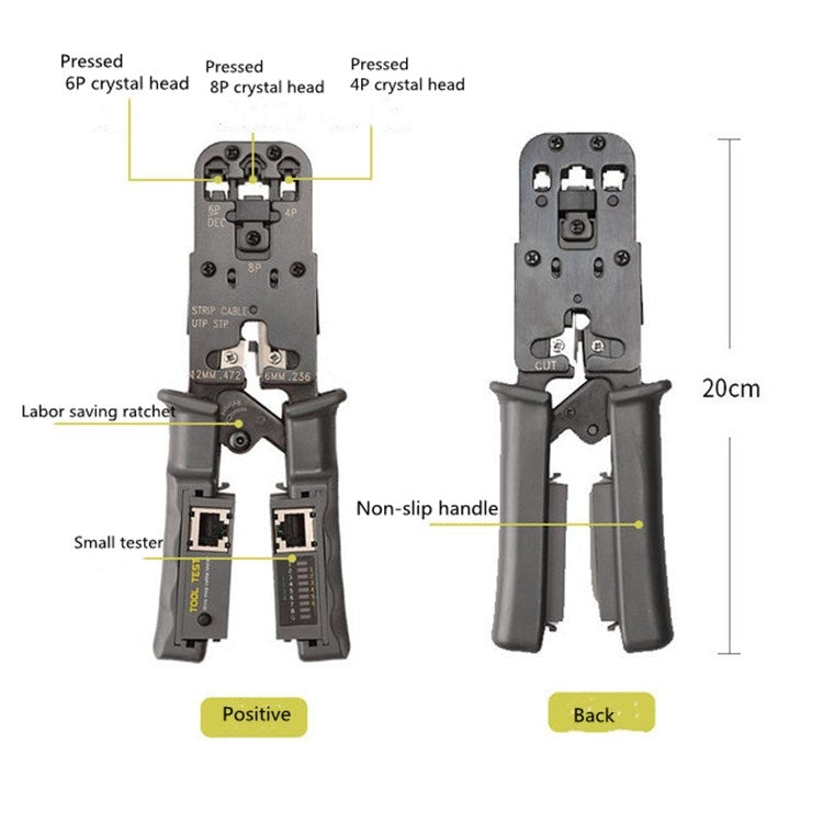 Multifunctional 4P8P6P Three-purpose Tester Ratchet Type Network Tool Squeeze Crimping Wire Network Pliers - star-produkte.myshopify.com