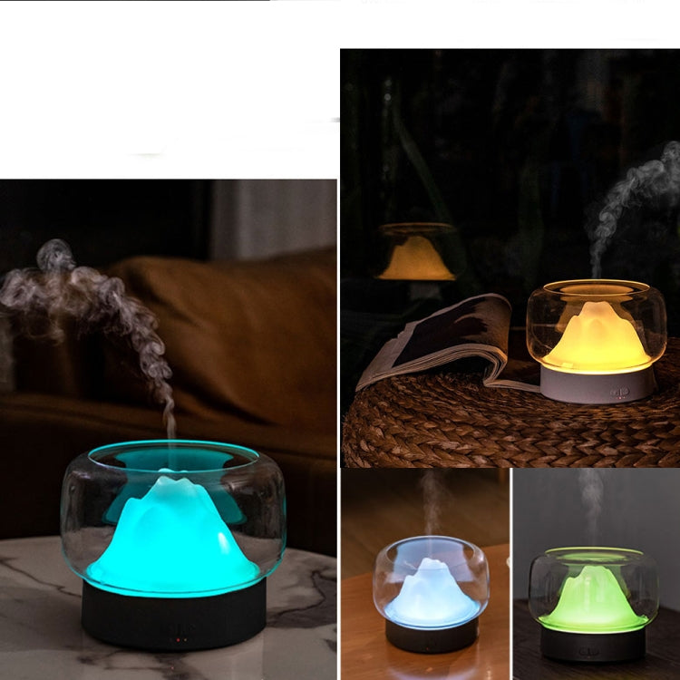 X907  400ML Moutain Essential Oil Aromatherapy Humidifier With Warm and Color LED Lamp, Plug Type: US Plug(Gray) - Star Produkte
