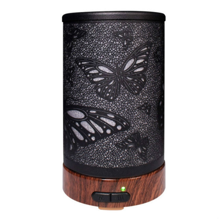 Butterfly Pattern Air Humidifier Essential Oil Diffuser Mist Maker Colorful LED Lamp  Diffuser Aromatherapy Air Purifier, Plug Type:UK Plug(Black) |