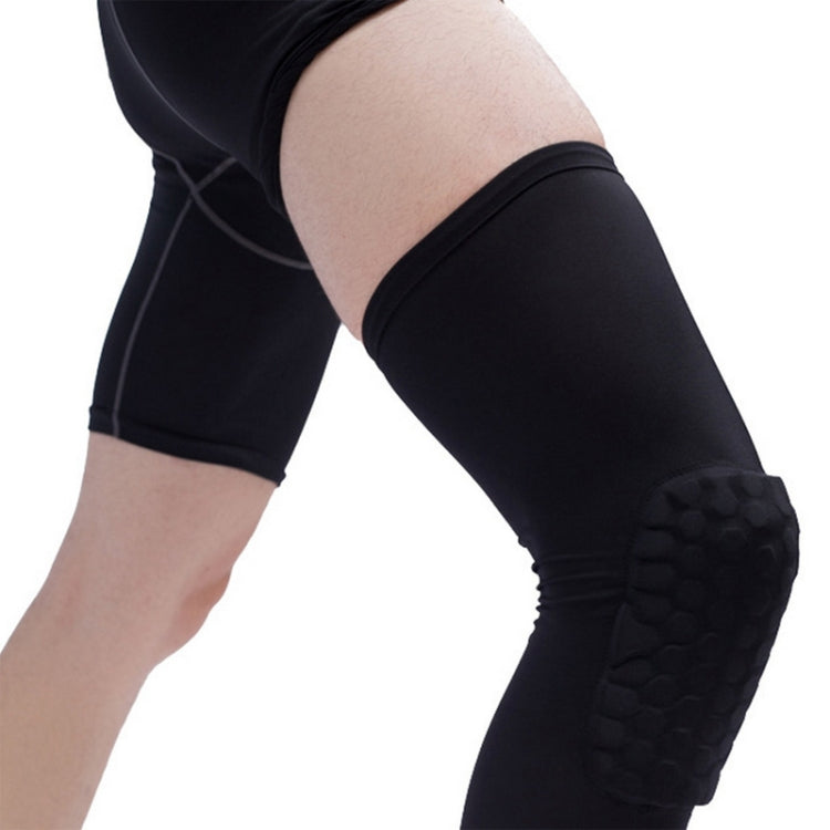Long Sports Anti-collision Anti-fall Breathable Honeycomb Knee Pads, Size:S(Black) - Star Produkte