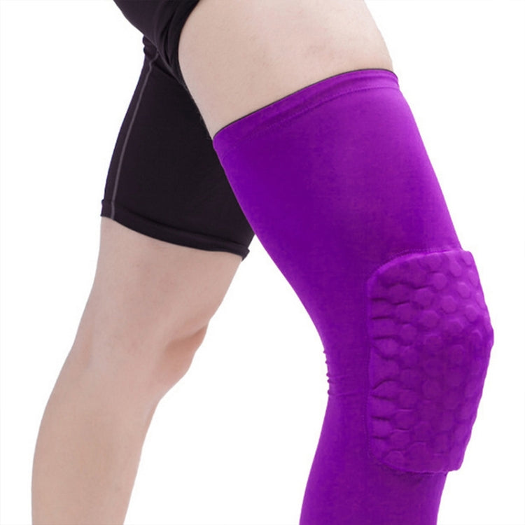 Long Sports Anti-collision Anti-fall Breathable Honeycomb Knee Pads, Size:XL(Purple) - Star Produkte