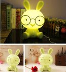 Fashion Cute Cartoon Rabbit LED 3-modes Dimming Touch Control Bedside Lamp, US Plug(Yellow) |