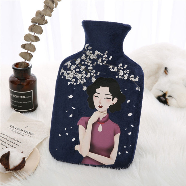 Cheongsam Lady Rubber Hot Water Bag Bottle Fleece Plush Cover Warm Baby(Navy Blue) - Star Produkte