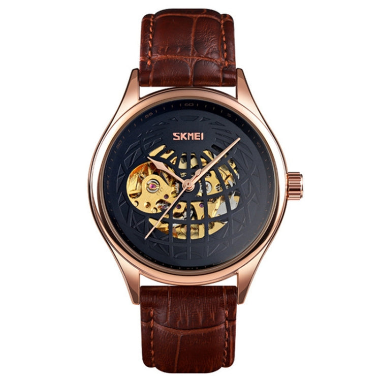 SKMEI 9209 Men Business Automatic Mechanical Watch Round Hollow Dial Leather Watchband Watch(Rose Gold Black) - star-produkte.myshopify.com