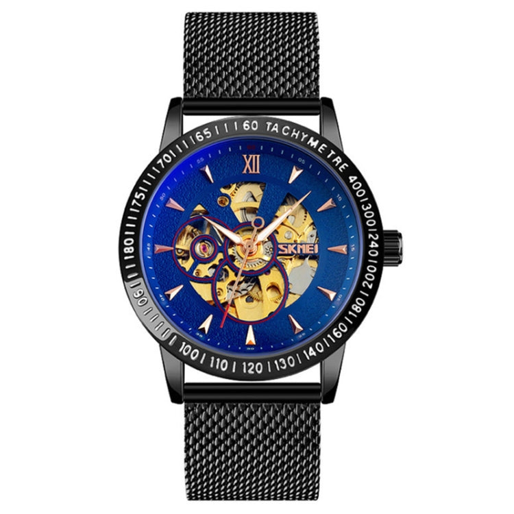 SKMEI 9216 Men Skeleton Automatic Mechanical Watch Stainless Steel Band Luminous Watch(Black Shell Blue Noodle) - Star Produkte