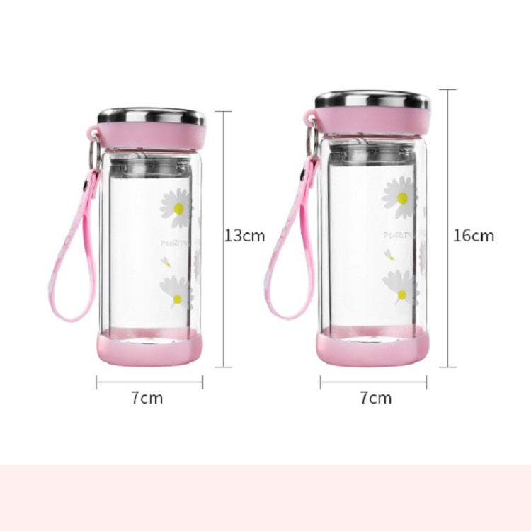 2 PCS Small Daisy Glass Men And Women Portable Cup With Cover Outdoor Couple Cup Transparent Straight Cup Water Cup, Size:280ml(Gray) - Star Produkte
