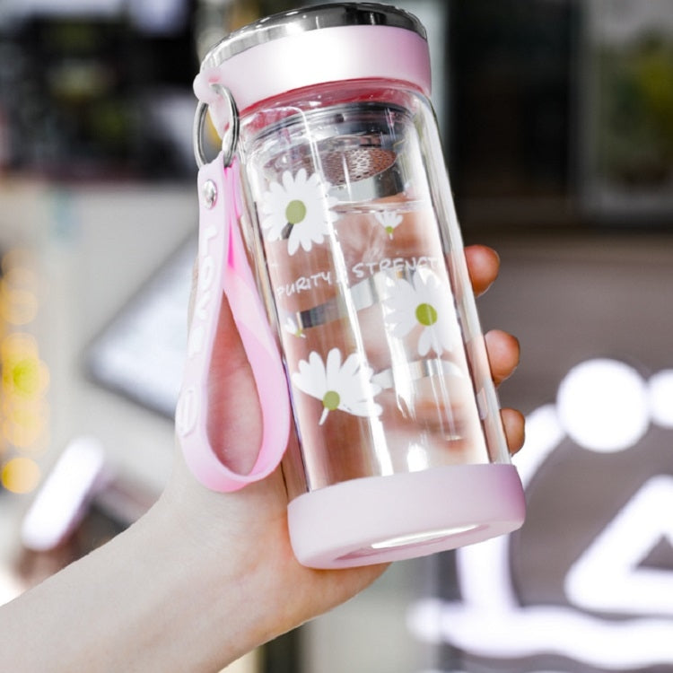2 PCS Small Daisy Glass Men And Women Portable Cup With Cover Outdoor Couple Cup Transparent Straight Cup Water Cup, Size:320ml(Pink) - star-produkte.myshopify.com