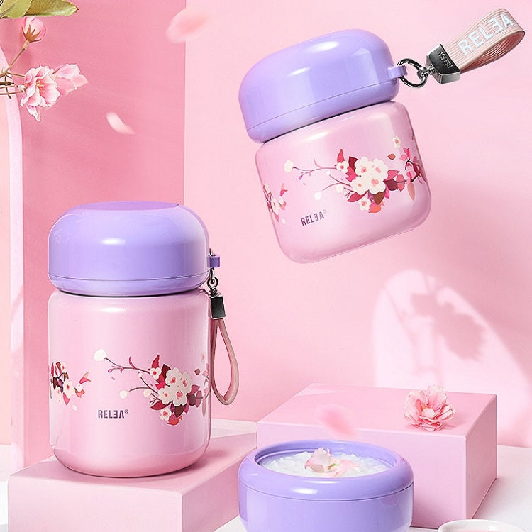 Flowers Pattern Stainless Steel Iid Insulated Lunch Box Insulation Barrel Student Portable Stew Beaker Stew Pot, Size:550ml(Blue) - star-produkte.myshopify.com