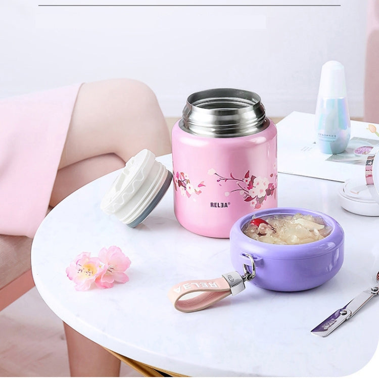 Flowers Pattern Stainless Steel Iid Insulated Lunch Box Insulation Barrel Student Portable Stew Beaker Stew Pot, Size:800ml(Blue) - Star Produkte