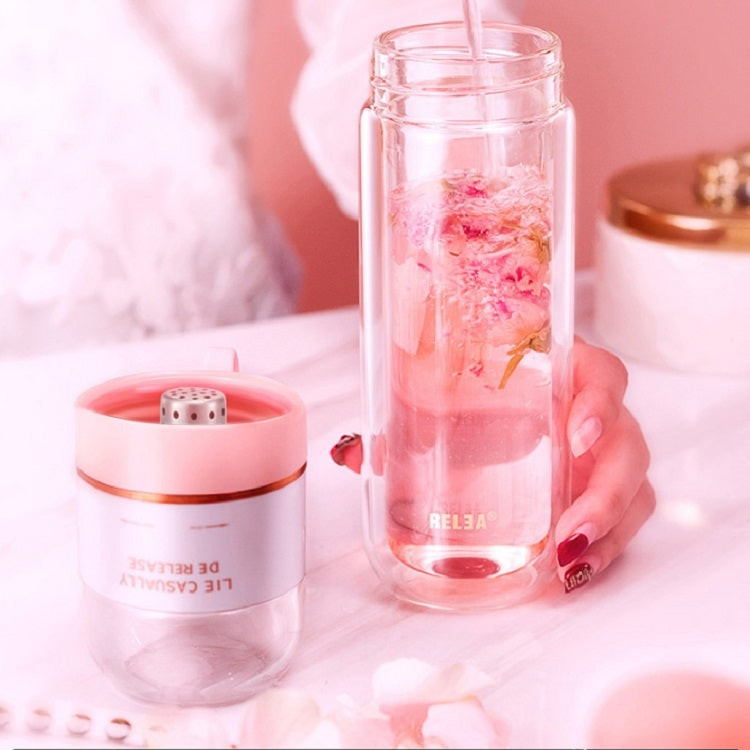 Portable Tea Separation Teacup Student Double-layer Glass Filter Large Capacity Casual Cup(Pink) - Star Produkte