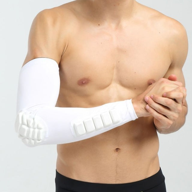 Basketball Sleeve Cellular Anti-collision Anti-slip Compression Elbow Protective Gear, Size:XL(WHITE) - Star Produkte