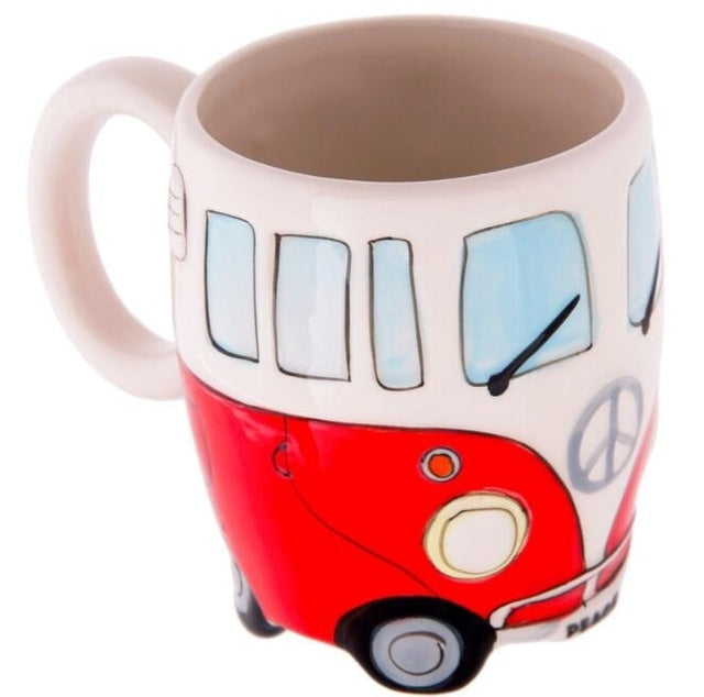 400ml Creative Hand Painting Double Bus Mugs Retro Ceramic Cup Coffee Milk Tea Mug Drinkware(Red) |
