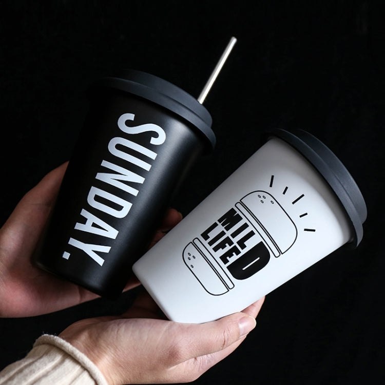 Black White Stainless Steel Silicone Mugs Hand Cup With Straw Lid Cup Sleeve Tea Milk Cups Home Office School Gift, Capacity:301-400ml(Coffe White) |