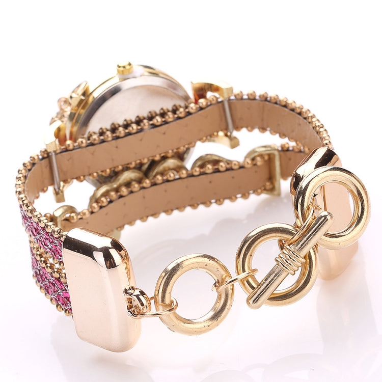 Alloy Diamond Love Letter Bracelet Watch for Women(Khaki) - Star Produkte