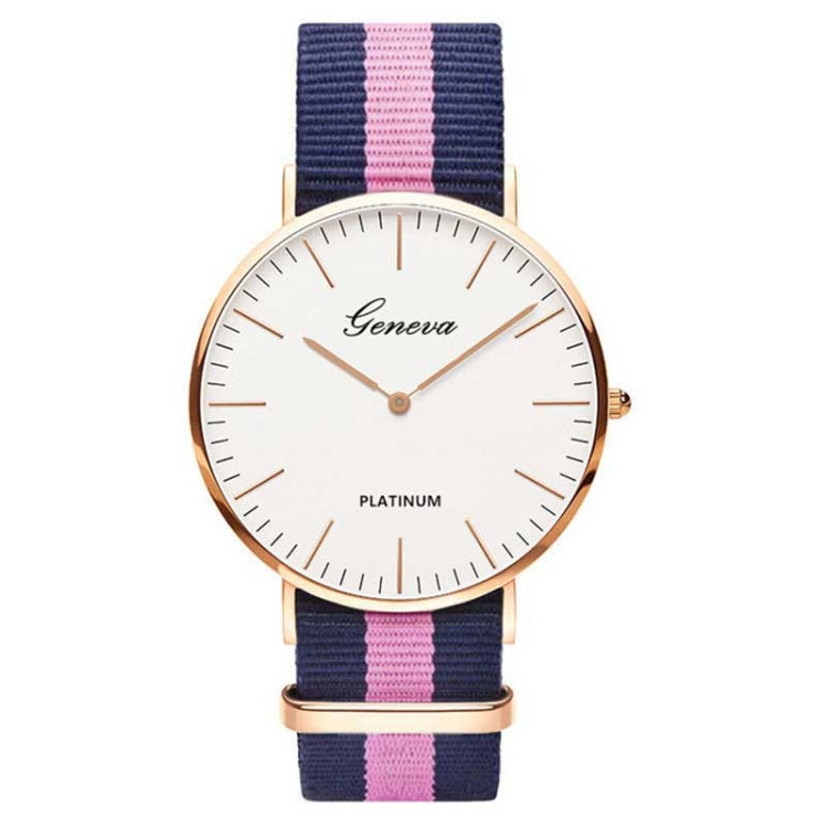 2 PCS Simple Ultra-thin Large Dial Two-pin Color Matching Nylon Canvas Belt Quartz Watch(Gold9) - star-produkte.myshopify.com