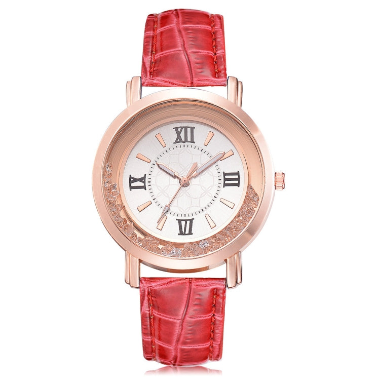 shshd Simple Rhinestone Rome Number Leather Belt Quartz Watch for Women(Red) - star-produkte.myshopify.com