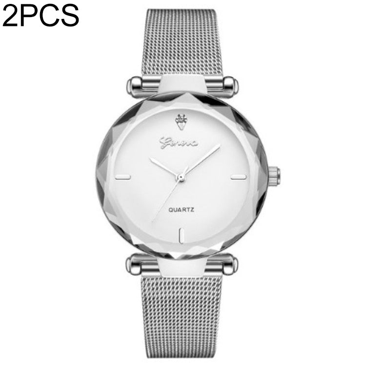 2 PCS Stainless Steel Analog Quartz Watch for Women(Silver white) - star-produkte.myshopify.com