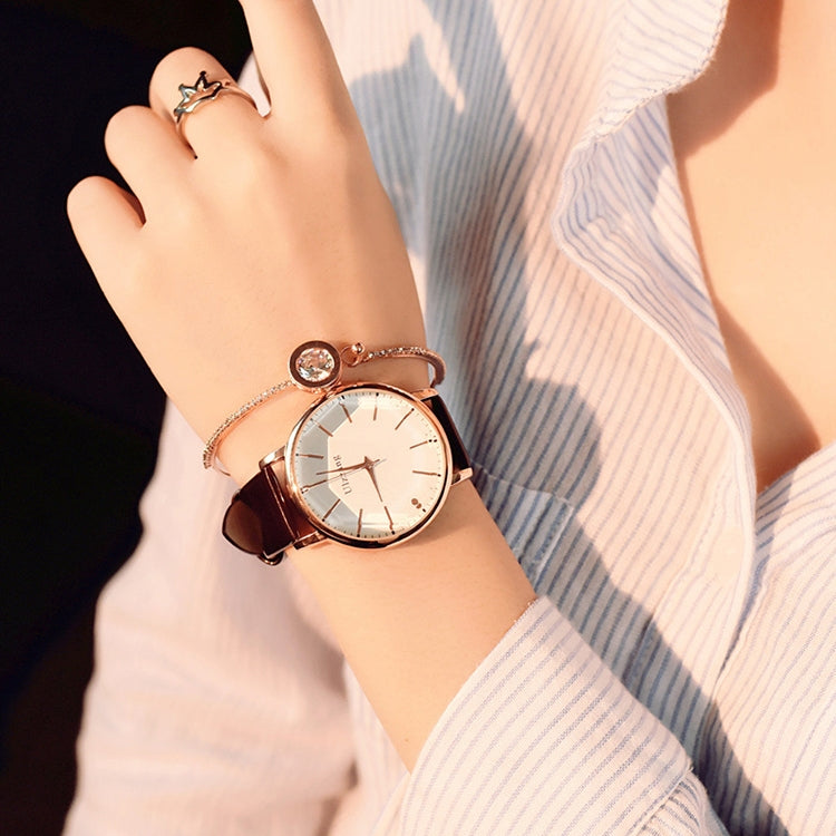 Ulzzang Simple Waterproof Large Dial Watch for Women(Brown white) - star-produkte.myshopify.com