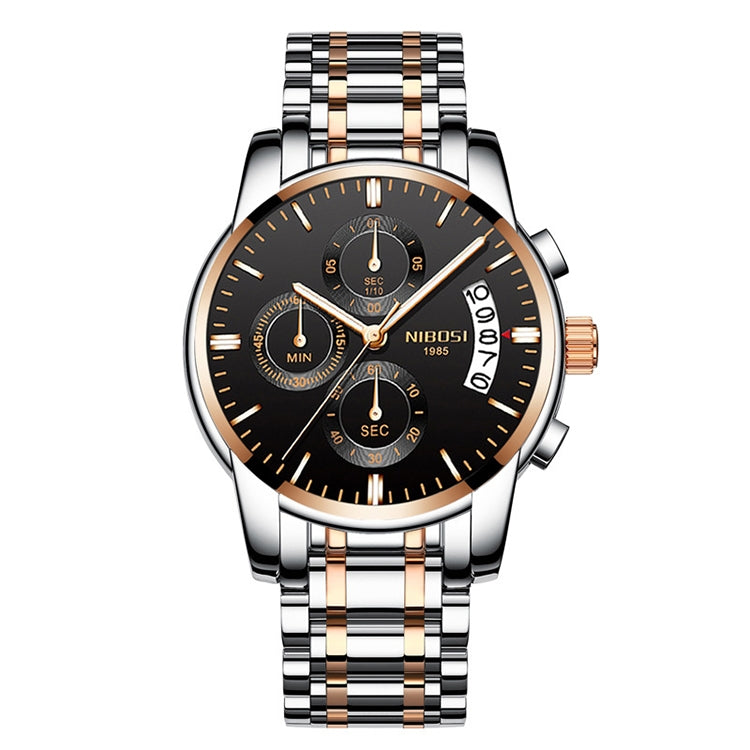NIBOSI 2353 Three-eye Six-needle Timing Sports Quartz Watch for Men(RoseGold Black Steel) - star-produkte.myshopify.com