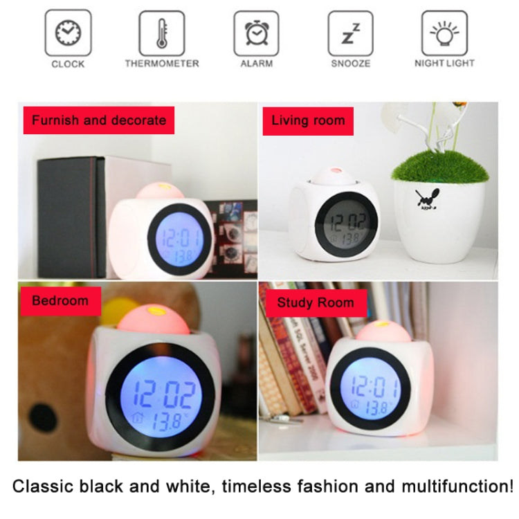 Multi-function LED Projection Alarm Clock Voice Talking Clock, Specification:White + USB cable - Star Produkte
