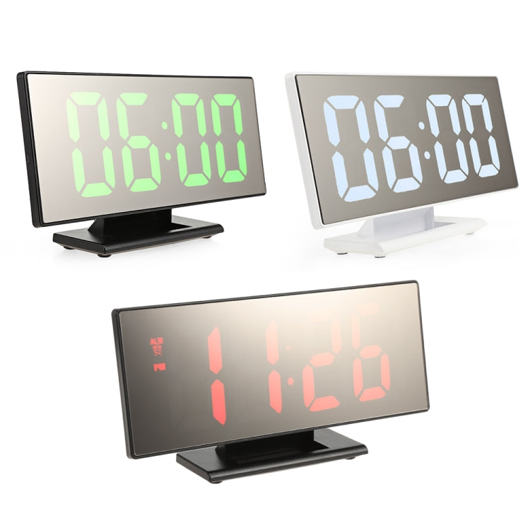 Multi-function Large Screen Electronic Clock Mute LED Mirror Alarm Clock(Green Light with White Frame) - star-produkte.myshopify.com
