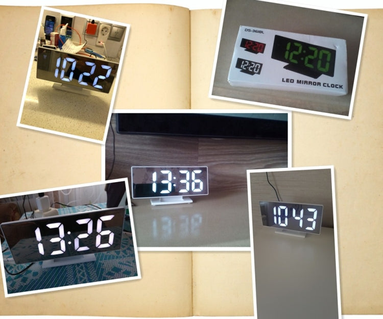 Multi-function Large Screen Electronic Clock Mute LED Mirror Alarm Clock(White Light with Black Frame) - Star Produkte