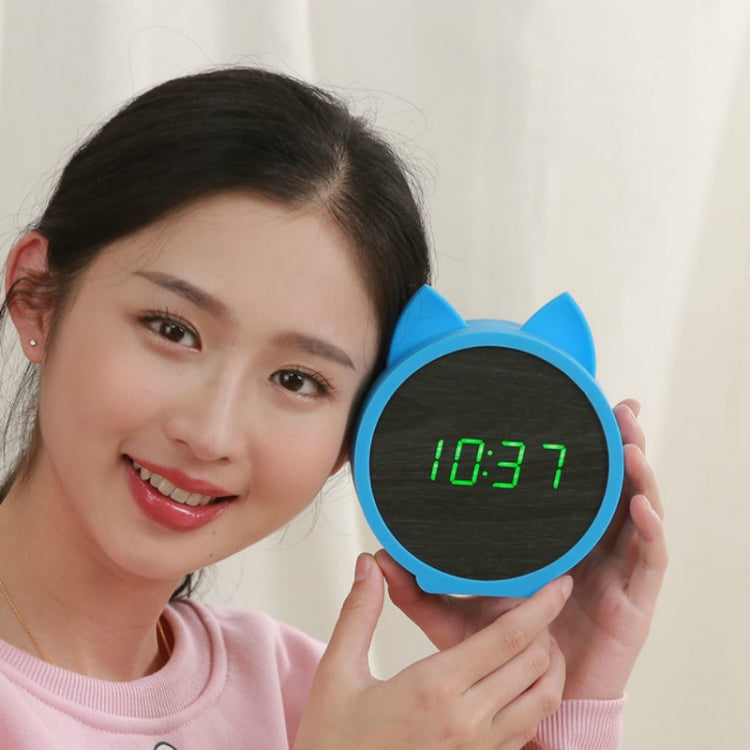 Creative Cat Shape Children Environmental Protection Silicone Wooden Silent LED Electronic Alarm Clock, Style:Ordinary(Green Light + Blue) - star-produkte.myshopify.com