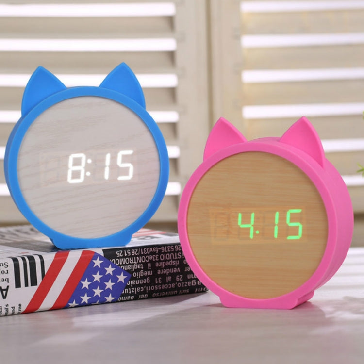 Creative Cat Shape Children Environmental Protection Silicone Wooden Silent LED Electronic Alarm Clock, Style:Ordinary(Blue Light + Blue) - star-produkte.myshopify.com