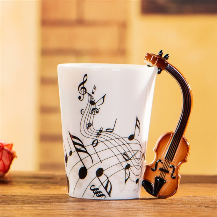 Guitar Ceramic Cup Personality Music Note Milk Juice Lemon Mug Coffee Tea Cup Home Office Drinkware Unique Gift(Violin freedom) - Star Produkte