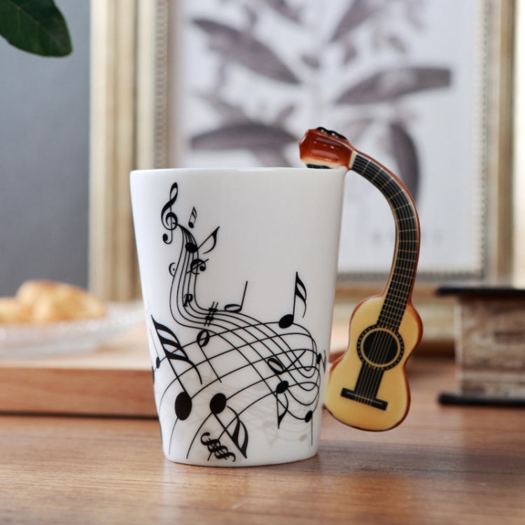 Guitar Ceramic Cup Personality Music Note Milk Juice Lemon Mug Coffee Tea Cup Home Office Drinkware Unique Gift(Wooden Guitar Free) - Star Produkte