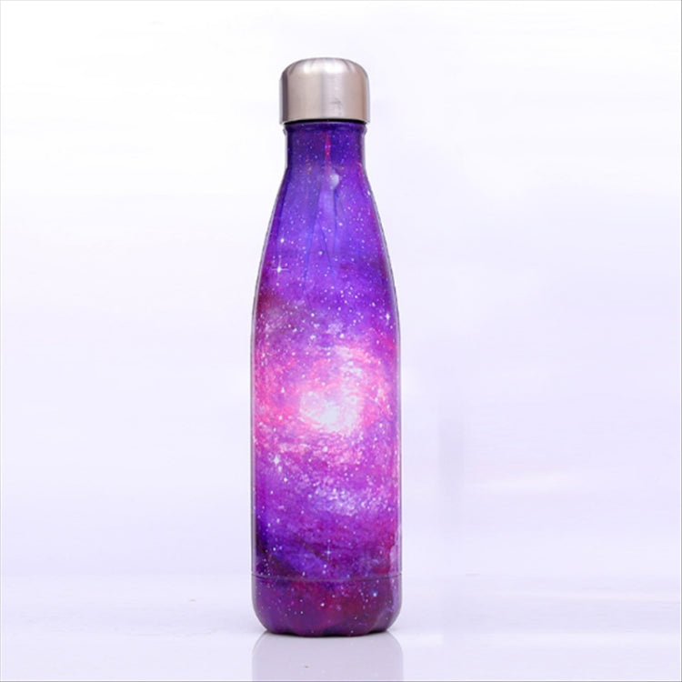 Starry Sky Pattern Thermal Cup Vacuum Flask Heat Water Bottle Portable Stainless Steel Sports Kettle, Capacity:500ml(Purple) |