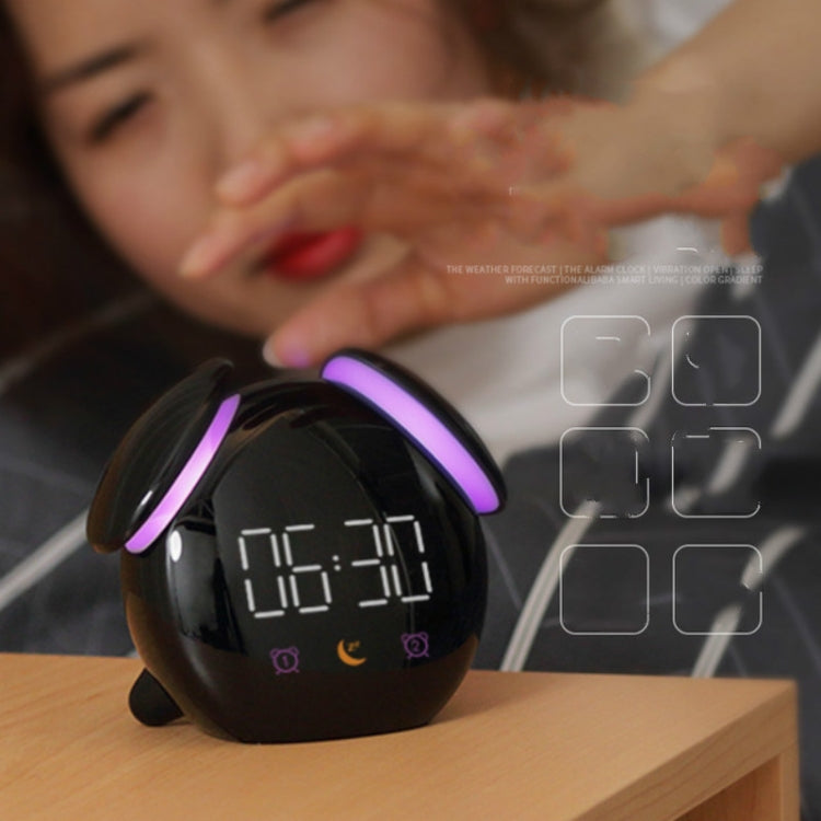 Creative Cartoon Dog Time Voice Broadcast Intelligent Induction Multifunctional Alarm Clock, Style:Weather Forecast(Black) - Star Produkte