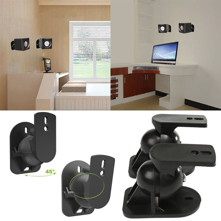 Pair Black Surround Sound Speaker Wall Mount Brackets 45 Degree Rotatable Design TV Wall Mount 8 x 4.5 x 5.8cm - Star Produkte