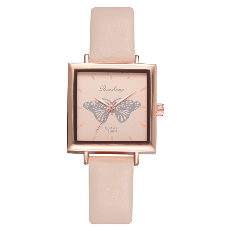 Square Butterfly Mirror Quartz Leather Strap Watch for Women(Beige) - Star Produkte