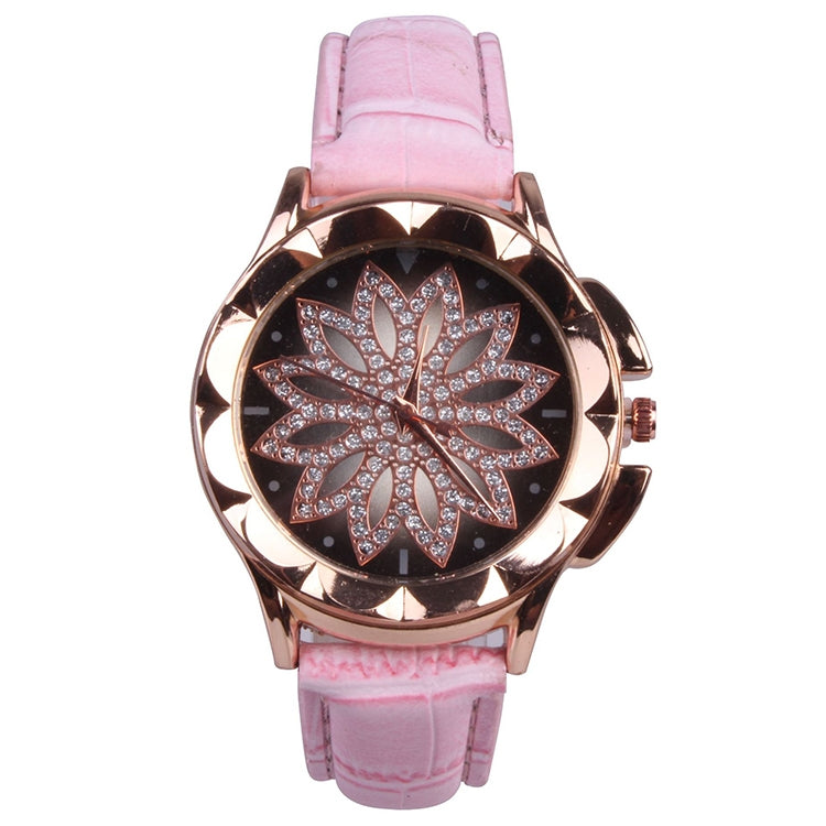 MOK Casual Lotus Pattern Dial Leather Strap Quartz Watch(Pink) - Star Produkte