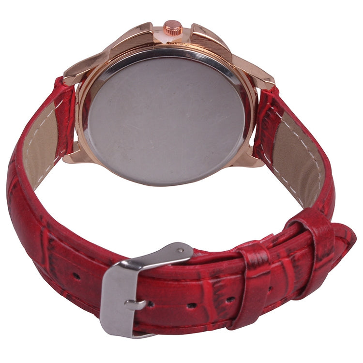 MOK Casual Lotus Pattern Dial Leather Strap Quartz Watch(Red) - Star Produkte