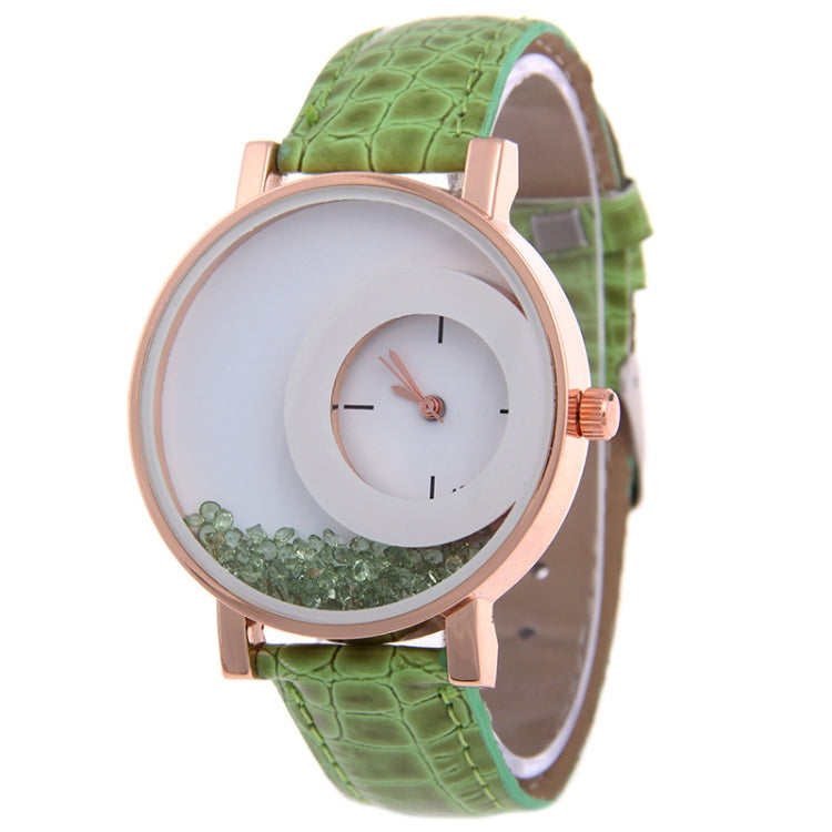 Women Crystal Sands Snake Skin Texture Leather Belt Watch(Green) - Star Produkte