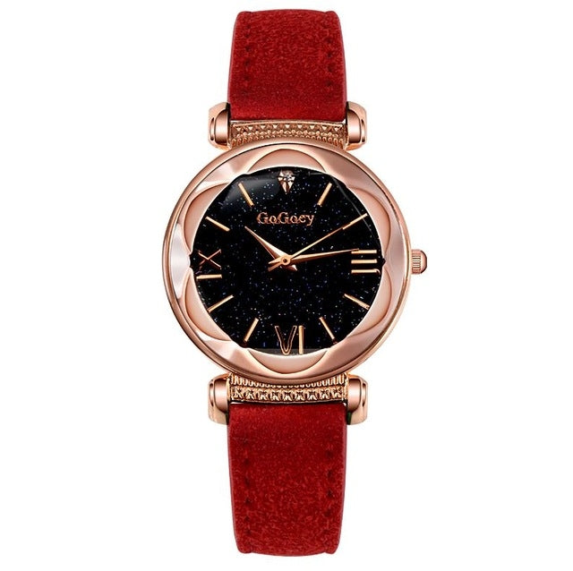 Gogoey Ladies Starry Sky Leather Belt Watch(Red) - Star Produkte