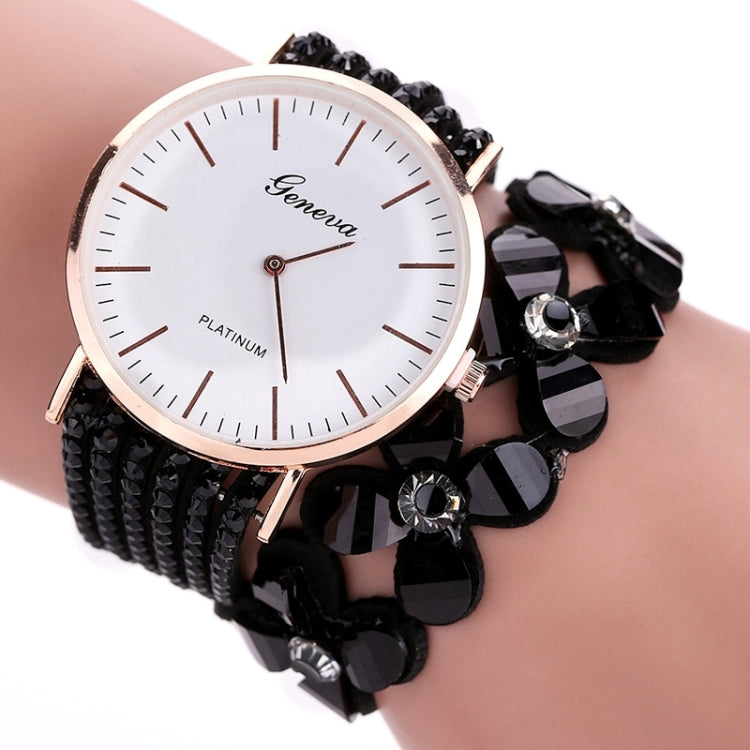 Women Round Dial Flower Diamond Studs Bracelet Watch(Coffee) - star-produkte.myshopify.com